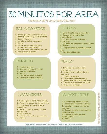 """Imprimible: Lista de Tareas """"30 Minutos Por Área"""""""