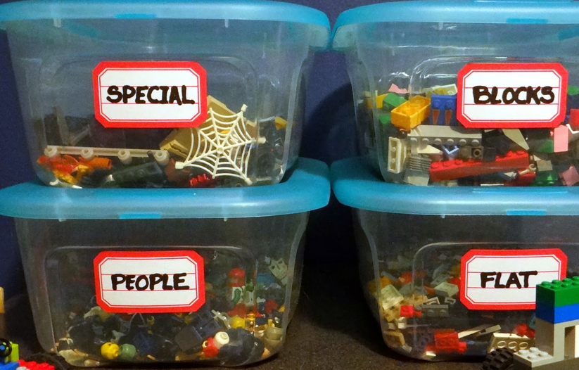 como organizar legos en cajas