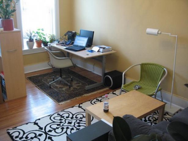 como dividir un studio con alfombra