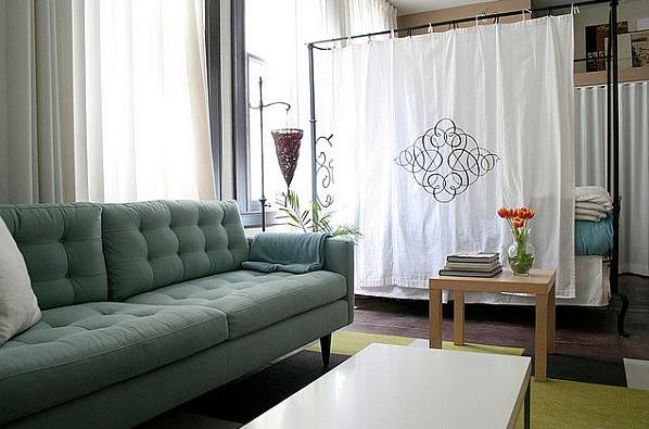 como dividir un studio con cortina