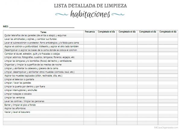 Lista de limpieza detallada de habitaciones