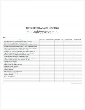 Lista detallada de limpieza de habitaciones imprimible