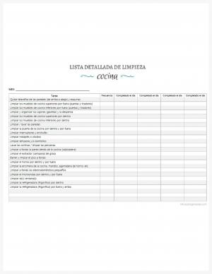 Lista detallada de limpieza de la cocina imprimible