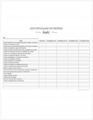 Lista detallada de limpieza del baño imprimible
