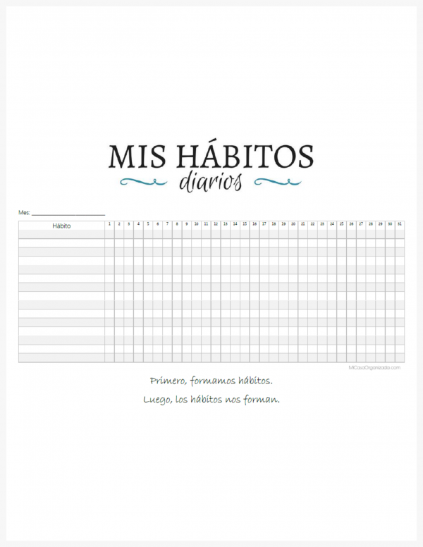 Mis hábitos diarios imprimible
