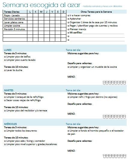 Muestra planificador tareas para el hogar 1