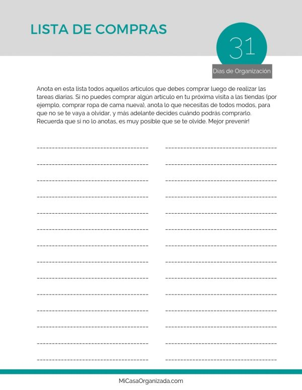 guía 31 dias de organización lista compras