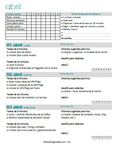 Calendario de limpieza para el hogar