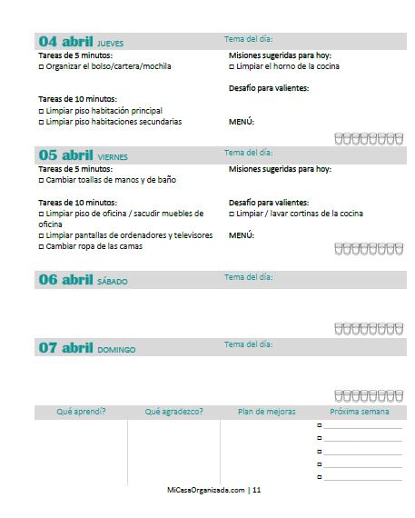 horarios para organizar la limpieza
