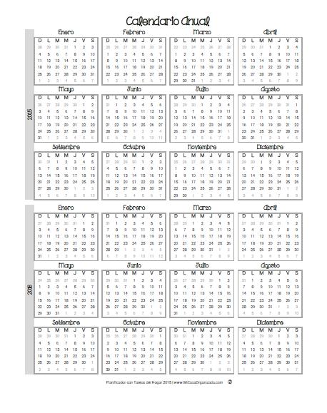 Planificador 2015 calendario anual