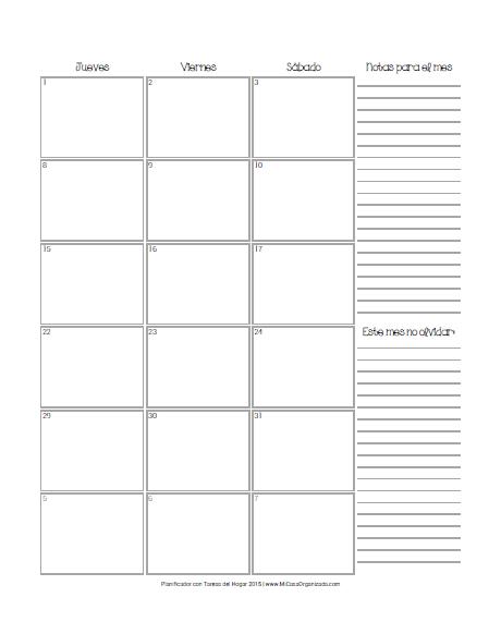 Planificador 2015 calendario mensual 2